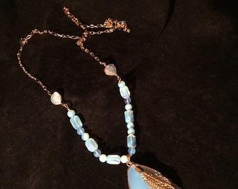 Opalite Pendant Necklace w/ Tassel