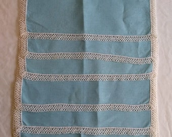 Vintage Robins Egg Blue Linen Tatted Cloth Placemats Set, Lot