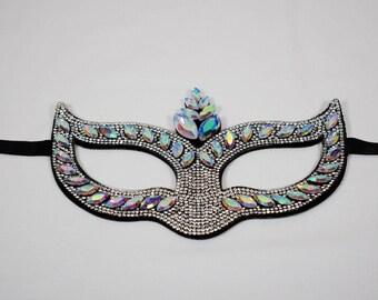 Clear/Iridescent Rhinestone Masquerade Mask, Masquerade Mask, Masquerade Ball Mask, Mardi Gras Mask, venetian carnival mask,mask, crown mask