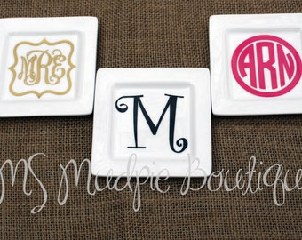 Square Monogrammed Jewelry/Trinket Tray