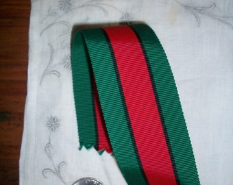 antique red and forest striped grosgrain ribbon 1.5 inches wide