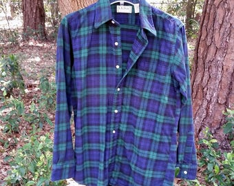 80's LL Bean Men's Small Flannel Shirt Made in USA - Freeport Maine - Perfect Condition Green Blue Soft Flannel