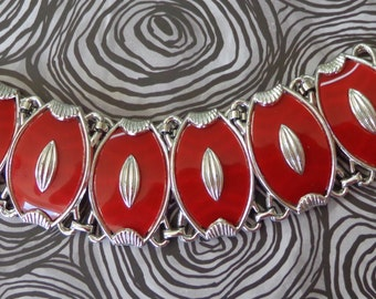 Vintage Red Thermoset Panel Bracelet Silver Tone VIBRANT