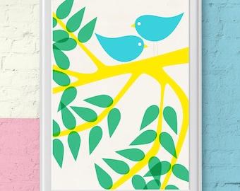 Nursery room poster birds in love in a tree - poster scandinavian inspired -  vintage style print, birds nursery room print.
