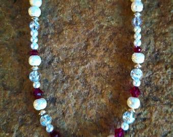 Ruby & Pearl Swarovski Crystal Necklace