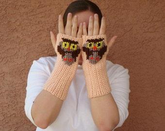 Peach Owl Fingerless Gloves for Women or Men, Crochet Fingerless Gloves, Arm Warmers - Wrist Warmers - Fingerless Mittens READY TO SHIP