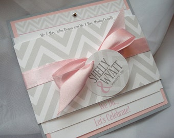 Chevron Chic Belly Band Square Wedding Invitation - Sample