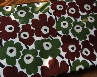 "Marimekko Green Brown Mini Unikko cotton fabric, 13x56"""