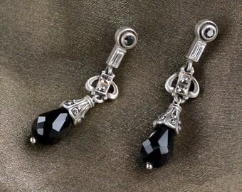Art Deco Earrings, Black Crystal Earrings, Jet Earrings, Art Deco Jewelry, Deco Earrings, Vintage Earrings, Gatsby Earrings E1223