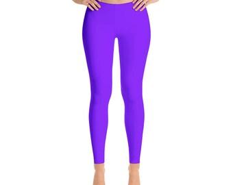 Violet Leggings, Mid Rise Waist Workout Pants, Bright Colored Leggings for Yoga