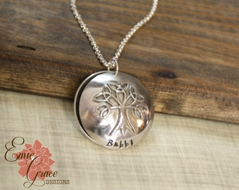Locket Necklace, Family Names Necklace, Personalized Message Jewelry, Sterling Silver, Hand Stamped