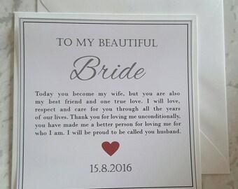 Bride Wedding Day Card - Personalised Keepsake Card - On Our Wedding Day Card - My Wife To Be On Our Wedding Day - Groom To Bride Card