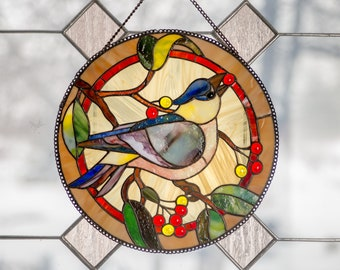 Stain glass bird jay window suncatcher Window panel Bird wall hanging Stain glass art red berries Blue yellow bird Bird gift Mother's Day