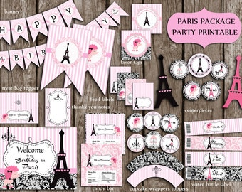 Paris Eiffel Party Package,Eiffel Birthday Party,Paris Party Supplies,Banner,sign  PRINTABLE DIY Instant Download