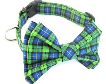 Bow Tie Collar Green Plaid Adjustable Fabric Bowtie Collar Dog Collar