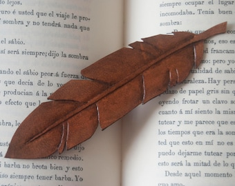 Leather bookmark. Feather leather bookmark. Personalised bookmark. Custom leather bookmark. Book lover gift.