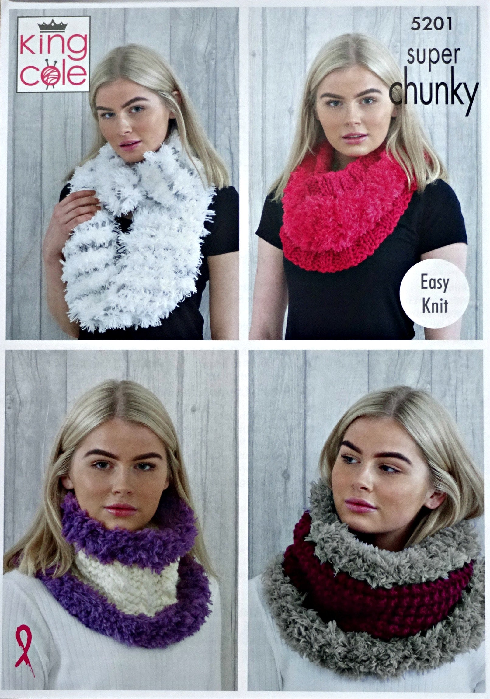 Snood Knitting Pattern K5201 Ladies 4 styles Easy Knit Cowls ...