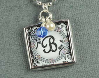 Vintage Damask Personalized Initial Pendant Birthstone Necklace