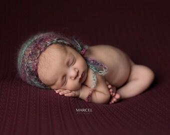 new born mohair bonnet,knitted mohair bonnet