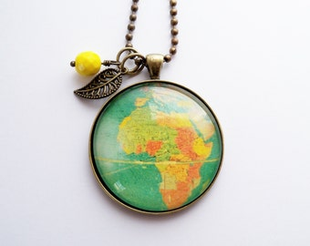 Large Globe Necklace - Map Pendant Necklace - You Choose Bead and Charm - Africa - Adoption Jewelry - Travel Necklace - Customizable