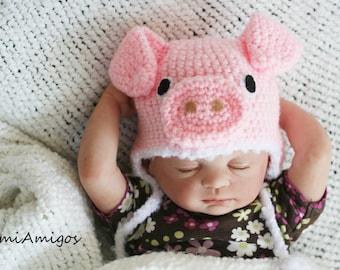 Crochet Light Pink Little Piggy Hat (Newborn)