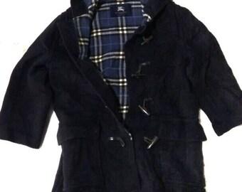 BURBERRY London Dark Blue Trench Coat Nova Check Tartan/Long Coat With Liner