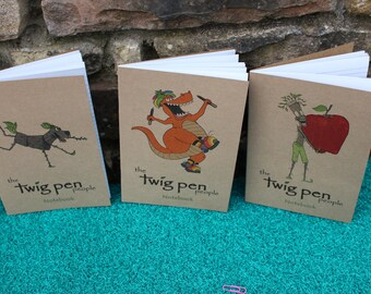Eco Friendly Notebooks. 3pk Lined Thank You Teacher gift, recycled. Rustic