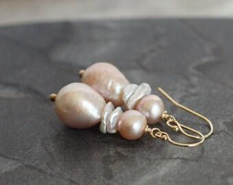 Baroque pearl earrings, freshwater pearl drop earrings, wedding jewelry, 14k gold fill shepherd hook ear wires, pearl jewelry gift for her