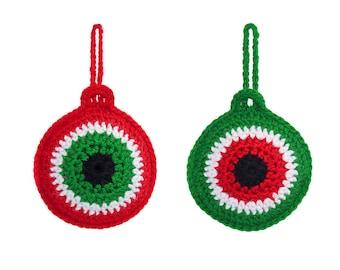 Christmas Ornaments Crochet - Homemade Christmas Decorations Crochet - Crochet Evil Eye Ornament