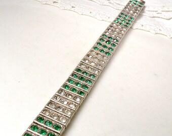 STERLING Antique Art Deco Emerald Rhinestone Bracelet, Silver Green Pave Rhinestone 1920s Flexible Bangle Bracelet, Vintage Gatsby Jewelry