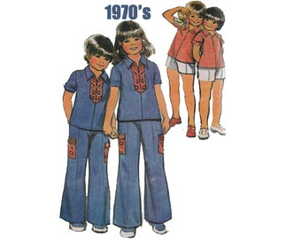 """1970's McCall's 3613 Girl's Shirt, Wide-Legged Pants, Shorts Size 6X    Breast 25 1/2""""/ 65cm    Vintage Sewing Pattern"""