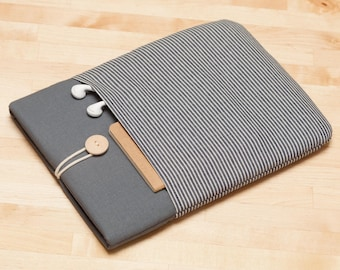 iPad Pro sleeve / iPad sleeve / iPad Pro 10.5 case / ipad cover - Railroad denim graphite