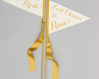 Here Comes the Bride + Last Chance To Run Signs | Set of 2 Pennant Flags Ring Bearer Flower Girls | Wedding Signage Banners 1883 SPW