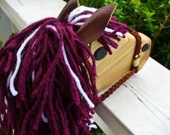 Maroon and White Stick Horse Toy - Rust Regins - Hobby Horse - Waldorf Animal
