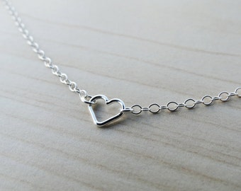 Tiny Silver Open Heart Necklace - Sterling Silver