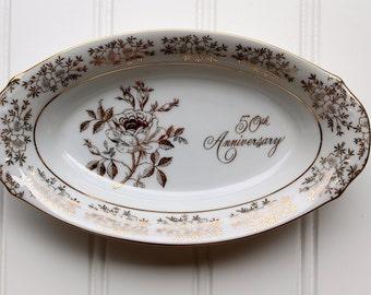 50th Anniversary Dish - Porcelain Bowl - Fine Porcelain - Japan - White with Gold - AB193