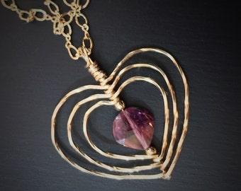 Rose Tourmaline Collier coeur, Collier coeur or, cadeau de fête des mères pour elle, anniversaire romantique, Rubellite