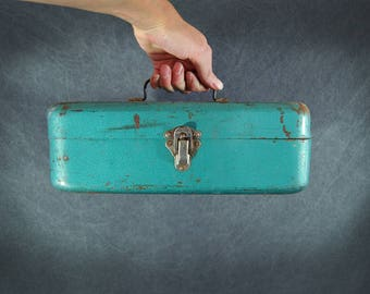 vintage Metal Tool Box Turquoise Blue Industrial Storage Box Heavy Duty Utility Box
