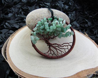 Tree of Life-Green Aventurine-Semi Precious Chips-Red Wire-Silver Plated Charm-Real Stones-Healing Crystals-Leather Cord-Wall Decor