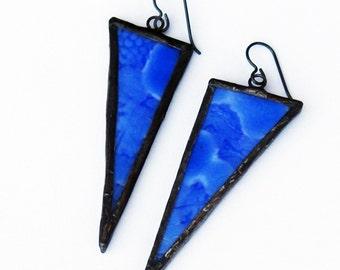 Triangle Earrings- Statement Earrings- Artistic Earrings- Girlfriend Gift- Blue Glass Earrings- Gift for Her- Birthday Gift- Geometric