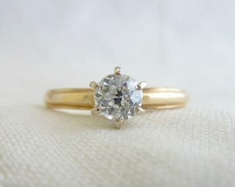 An Antique .45 Carat Old European Cut Diamond Engagement Ring in a 14kt Yellow Gold - Iphigenia