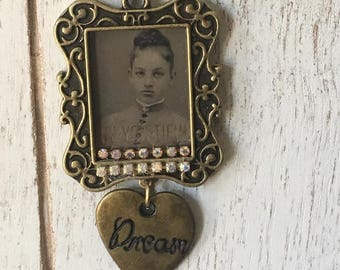 Beautiful You -Necklace -Real Vintage Photograph Locket -  Assemblage