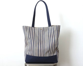 Stripe Tote Bag Recycled Blue Canvas Ticking Stripe