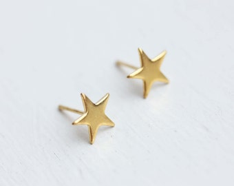 Star Studs Gold, Small Star Studs, Gold Star Earrings, Small Gold Studs, Simple Shape Studs, Gold Simple Earrings