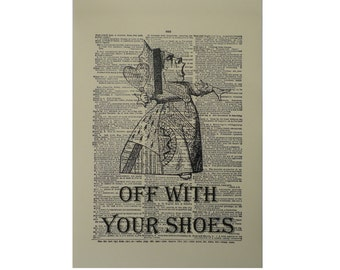 Vintage Inspired Off With Your Shoes Dictionary Page Art Print P012