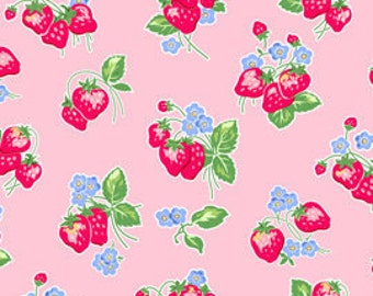 OOP HTF 18 inches Pam Kitty Morning LakeHouse Fabric STRAWBERRIES Strawberry Fruit on Rose Pink