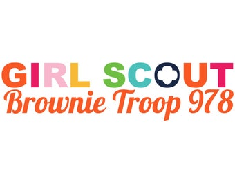 Personalized Girl Scout Brownie Troop Logo