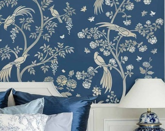Birds And Roses Chinoiserie Wall Mural Stencil   Better Than Wallpaper    Stencil For DIY Home