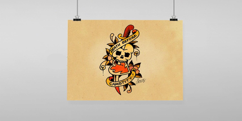 Death Before Dishonor Skull Tattoo Sailor Jerry Vintage