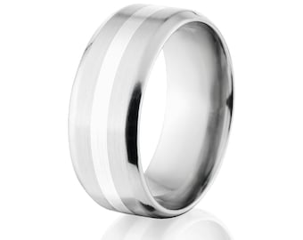 Beveled Cobalt Chrome Ring with Sterling Silver Inlay Cobalt Wedding Band Mens Ring : COB-9B12G-B-Silver-Inlay